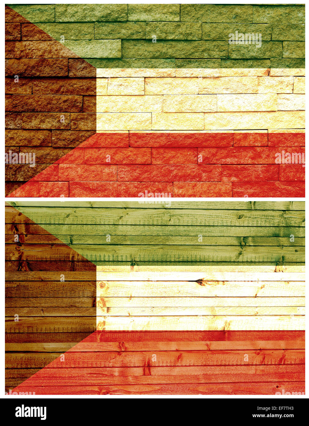 Vintage wall flag of Kuwait - Stock Image
