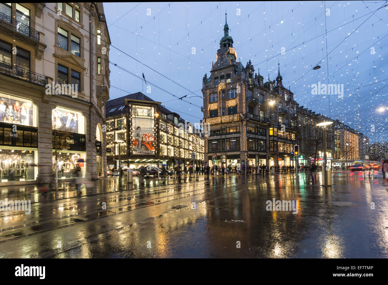 Zurich City Center, Bahnhofstrasse, Shopping, Jelmoli Warehouse, Winter, Zurich, Switzerland - Stock Image