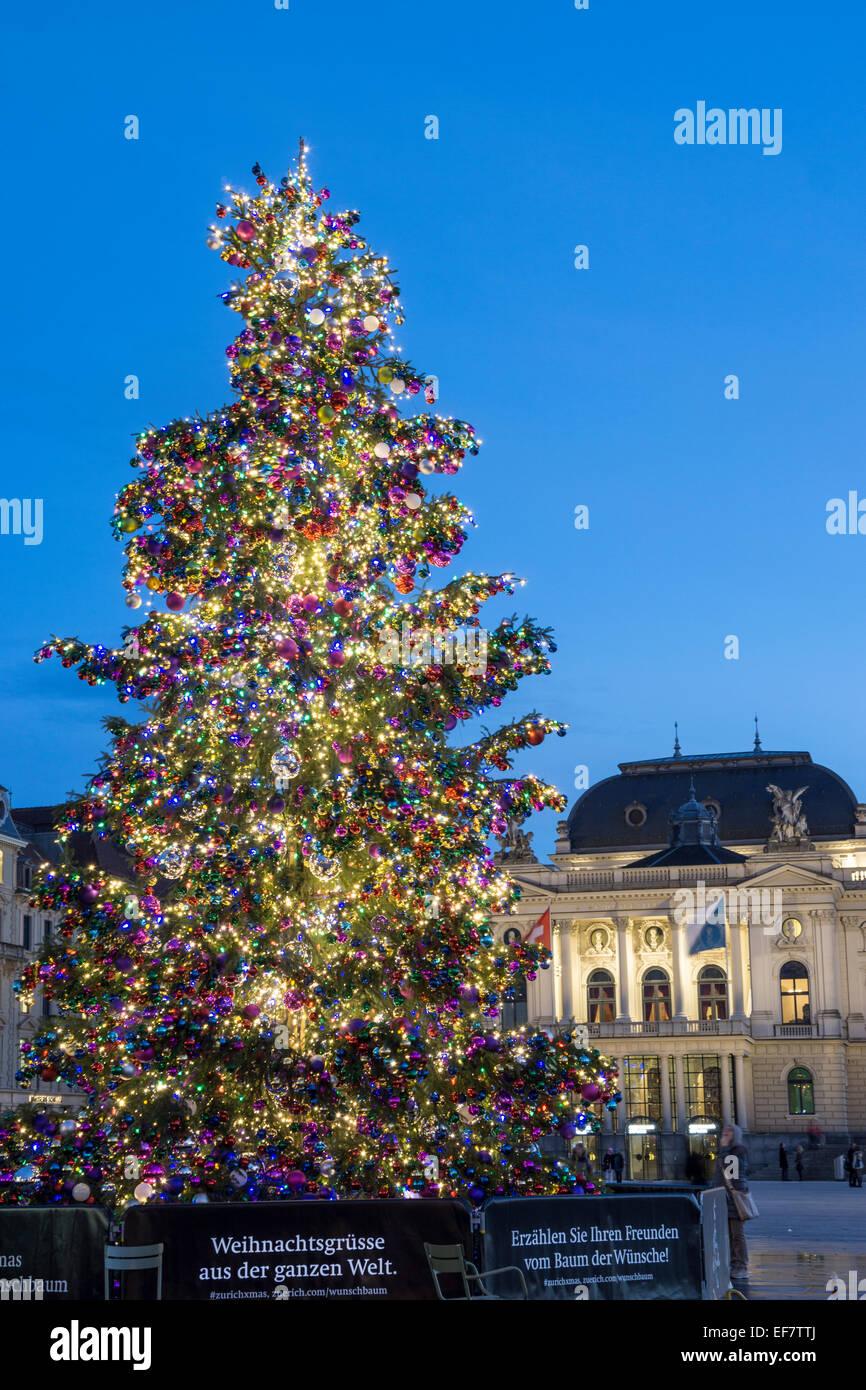 Christmas Tree, Sechselaeuten Square, Opera House, Zurich, Switzerland - Stock Image