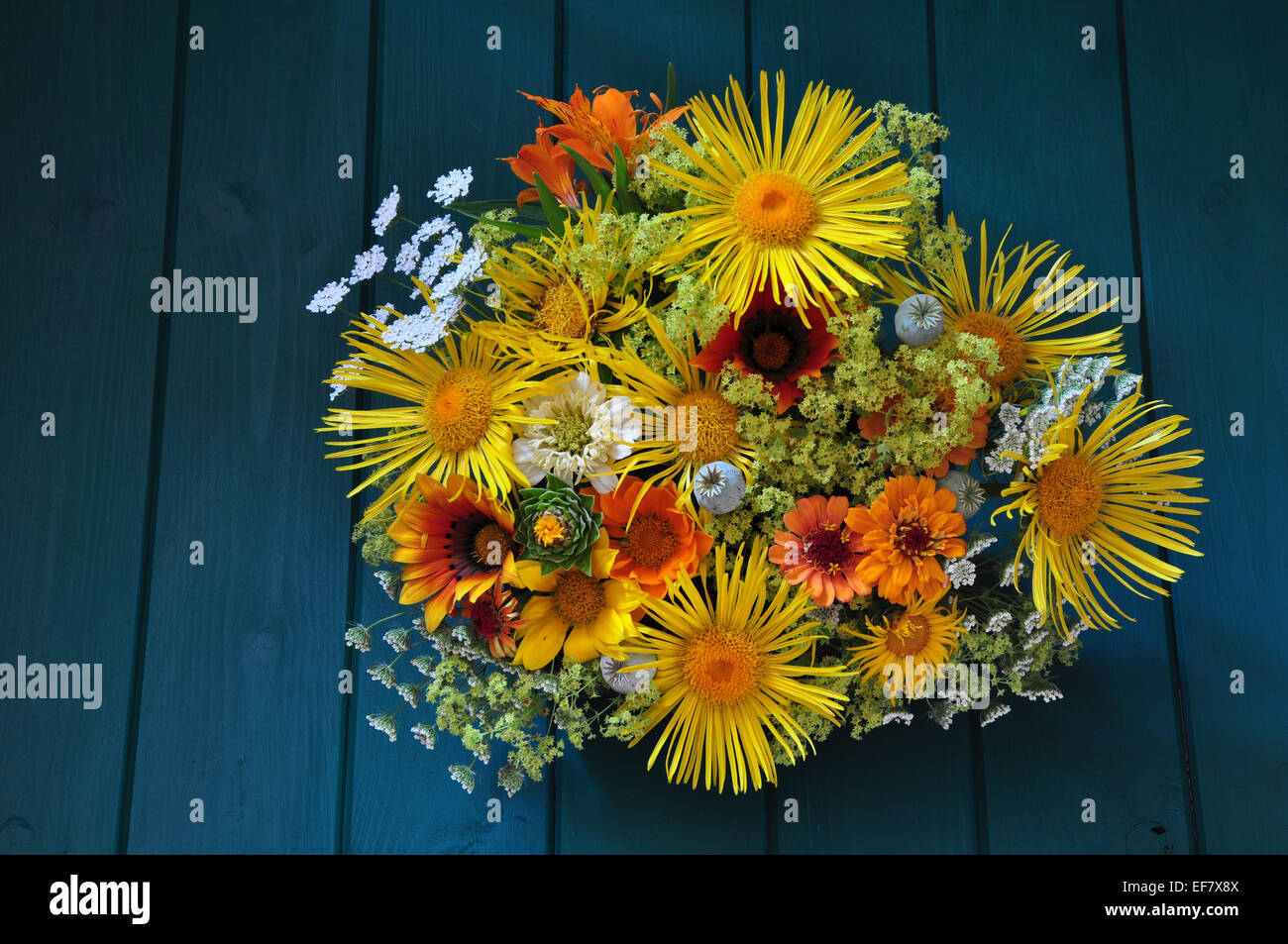A Beautiful Cut Flower Arrangement Whites Orange And Yellow From