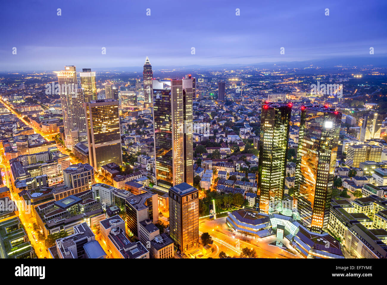 Frankfurt, Germany downtown financial district skyline. Stock Photo