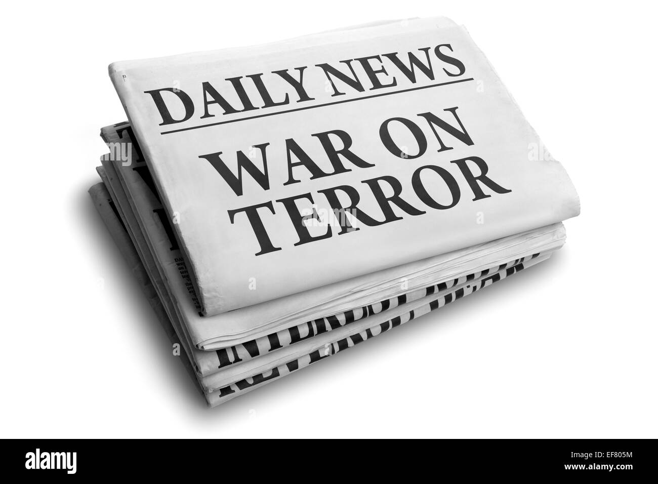 War on terror daily newspaper headline - Stock Image