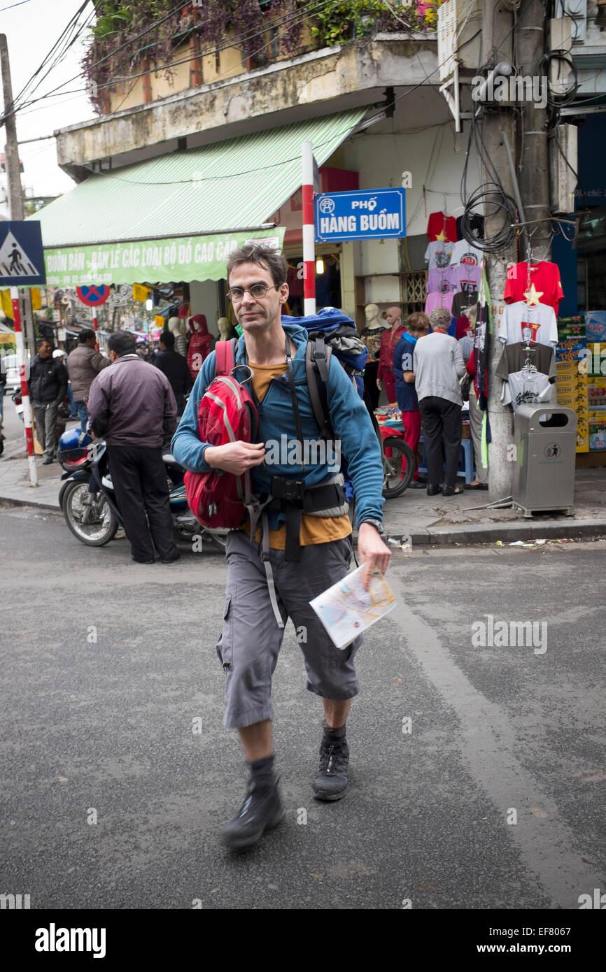 Backpacker Hanoi Vietnam - Stock Image