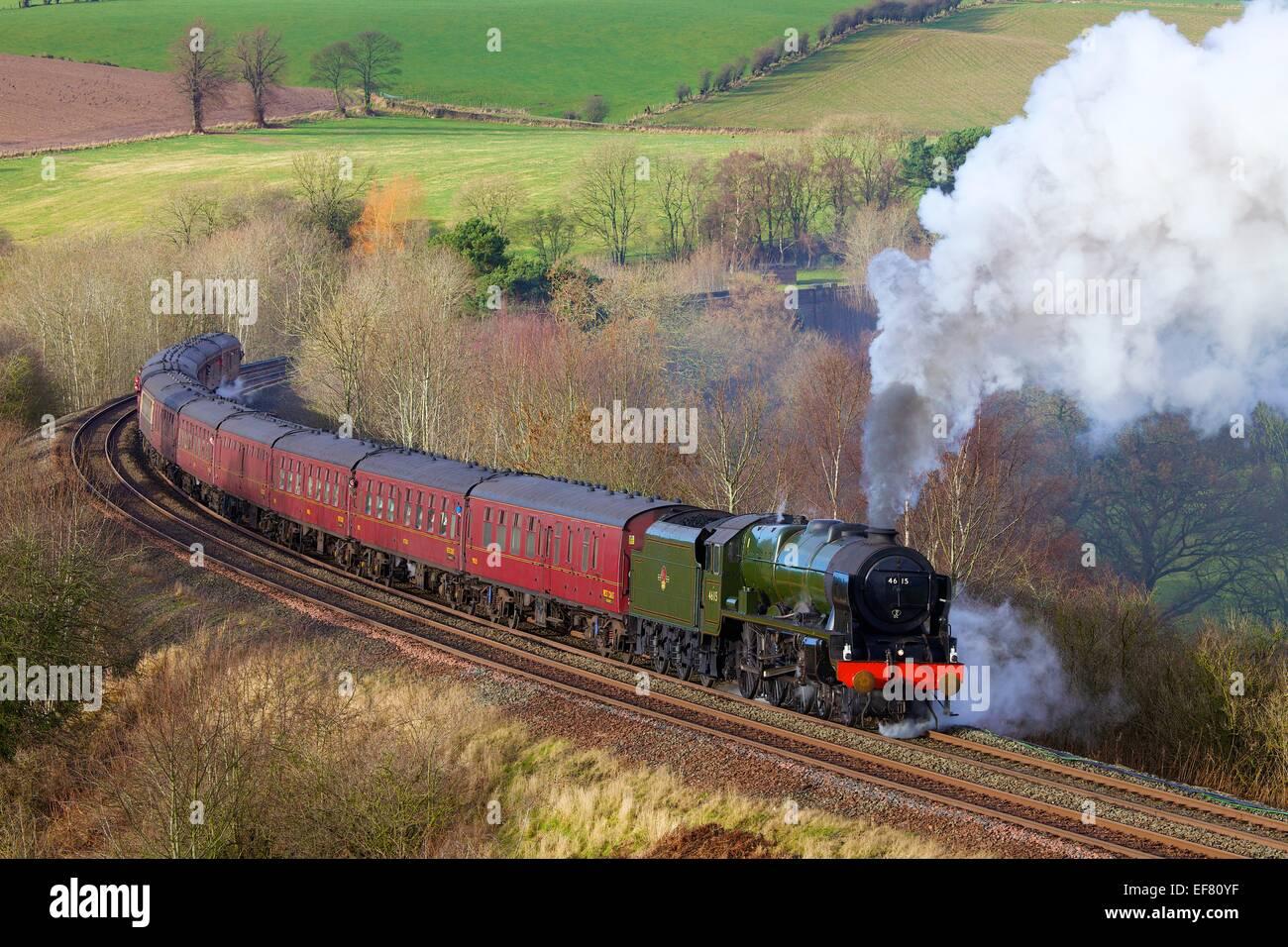 Steam locomotive LMS Royal Scot Class 46115 Scots Guardsman. Low Baron Wood Farm Armathwaite, Eden Valley, Cumbria, - Stock Image
