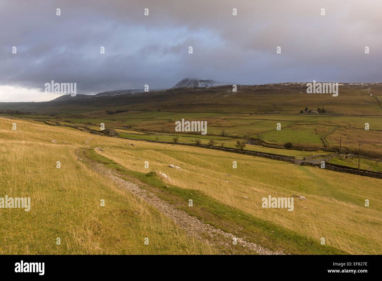 Ingleborough Hill near Ingleton, Yorkshire Dales, North Yorkshire, UK - Stock Image