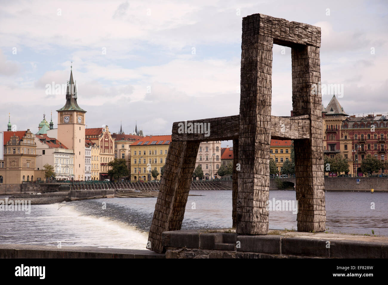 Large sculpture of a chair by Magdalena Jetelová a landmark visible from across the Vltava River, Prague - Stock Image