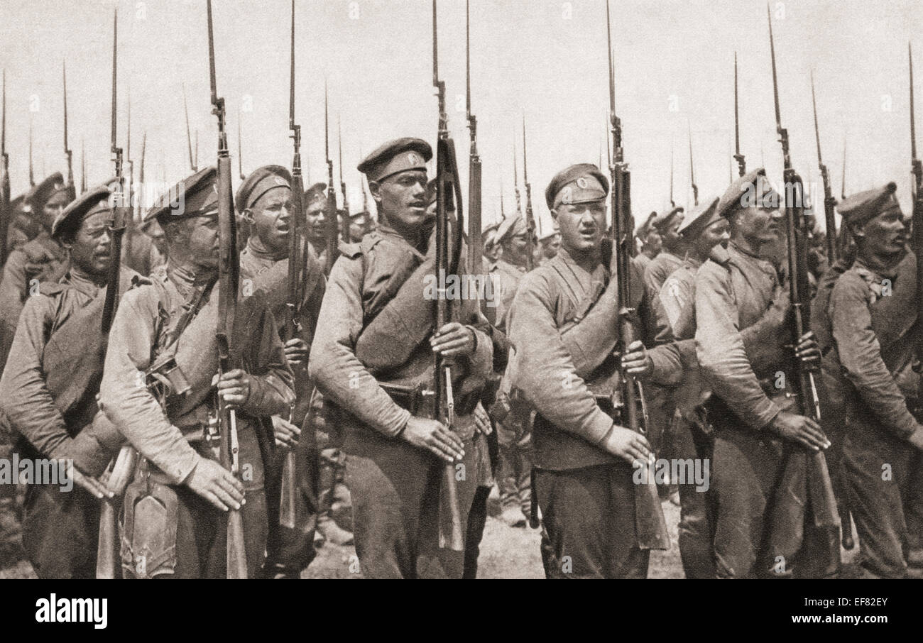 Russian infantry on parade and presenting arms during World War One. - Stock Image
