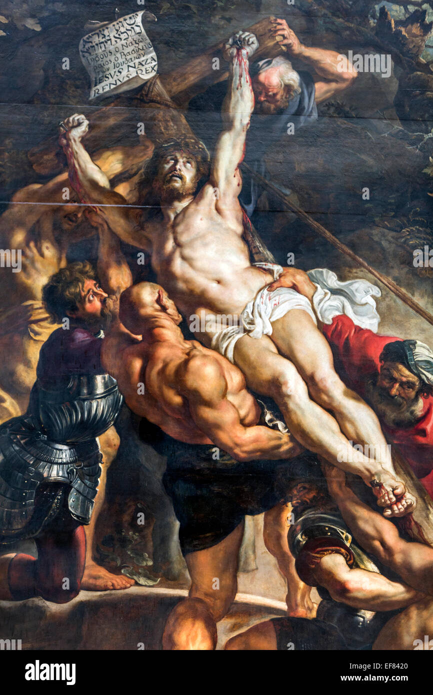 Detail of Elevation of the Cross, or The Raising of the Cross a triptych painting by Rubens Cathedral of Our Lady - Stock Image