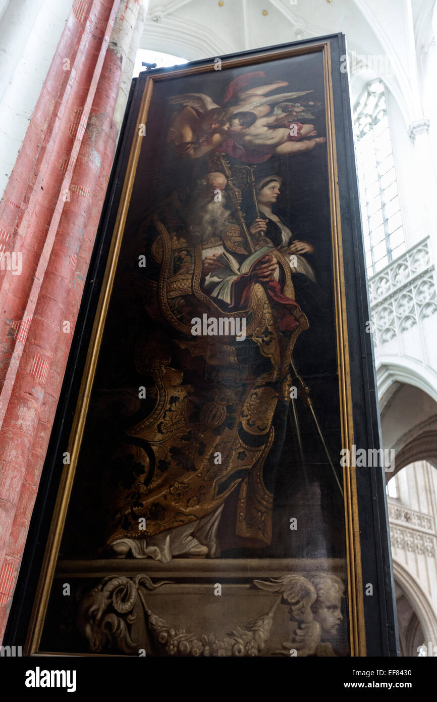 Back of the Elevation of the Cross, or The Raising of the Cross a triptych painting by Rubens Cathedral of Our Lady - Stock Image