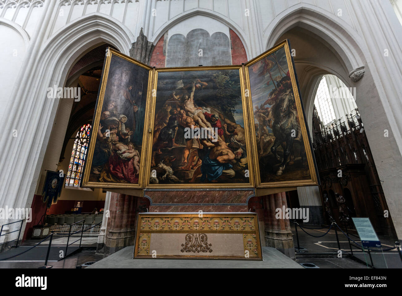 Elevation of the Cross, or The Raising of the Cross a triptych painting by Rubens Cathedral of Our Lady Antwerp, - Stock Image