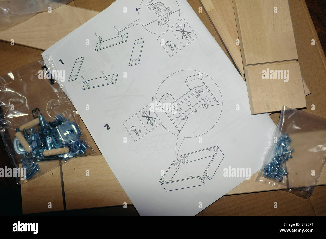 A Sheet Of Ikea Furniture Assembly Instructions Next To Assembly Equipment.