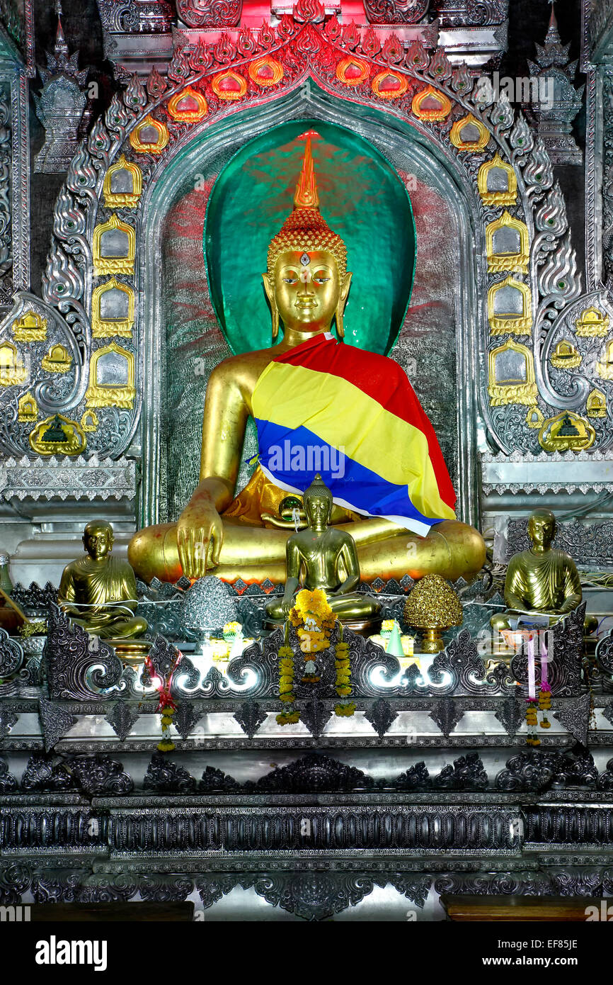 Statue of Buddha, Wat Sri Suphan (Silver Temple), Chiang Mai, Thailand - Stock Image