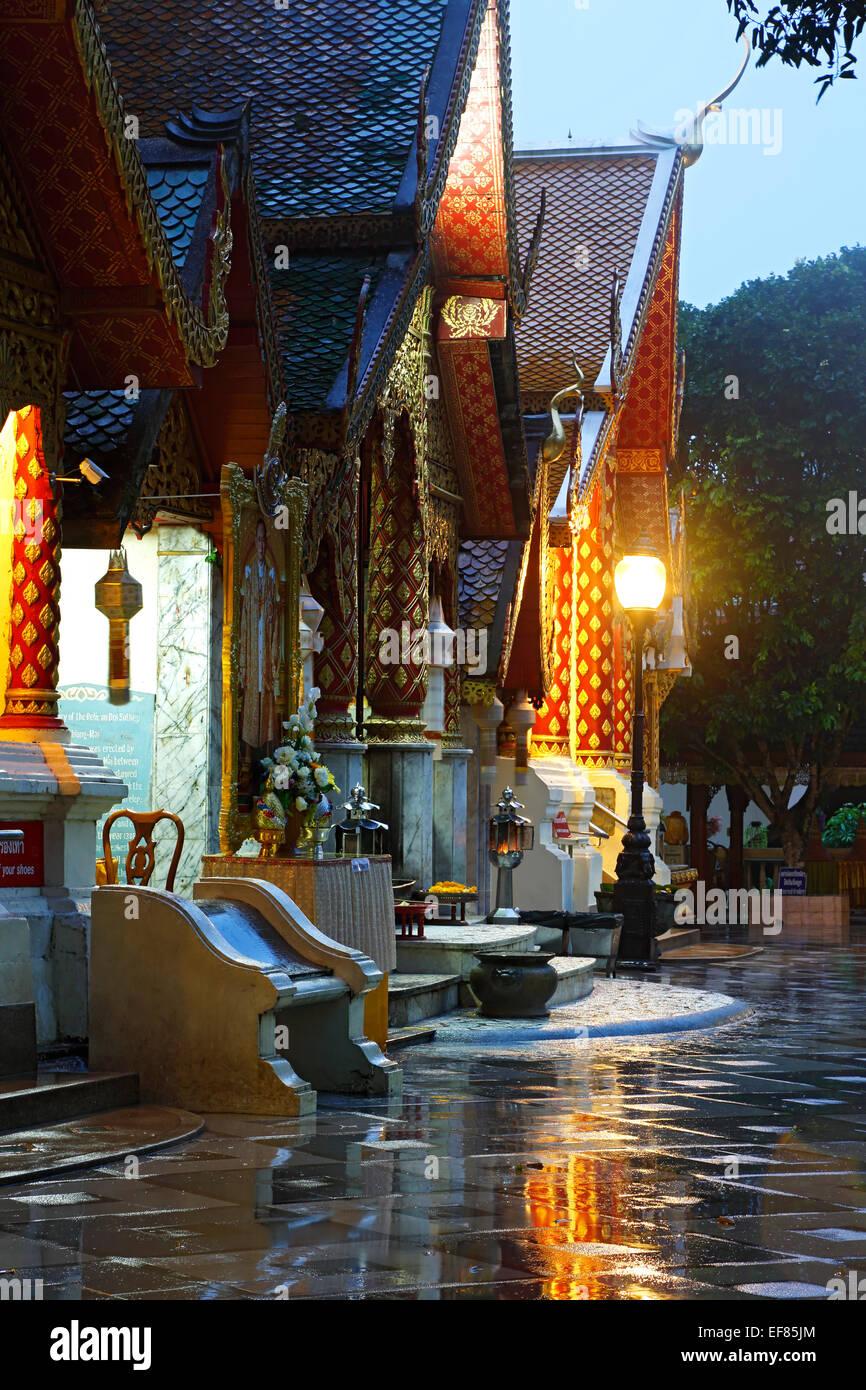 Entrance, Wat Phrathat, Doi Suthep Peak, Chiang Mai, Thailand - Stock Image