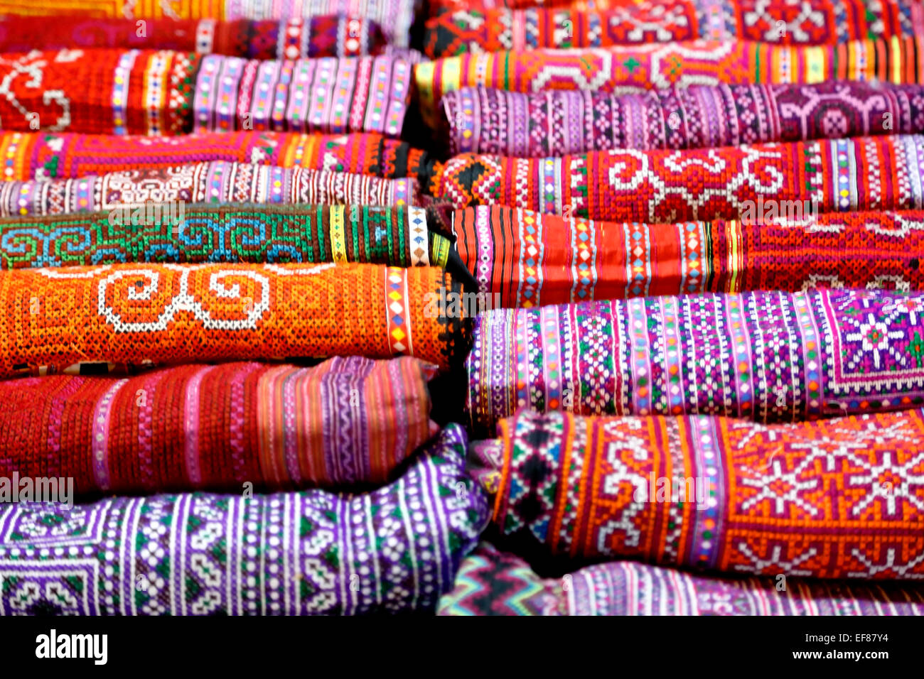 Traditional Thai bedspreads, Sunday Market, Chiang Mai, Thailand - Stock Image
