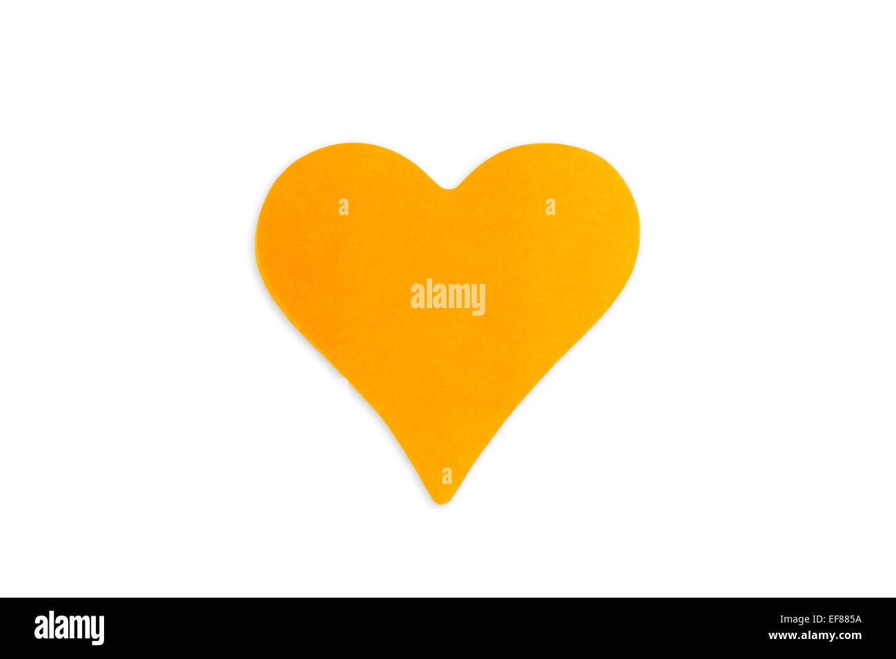 Blank orange Post-it note (sticky note) in heart shape, isolated on white background. - Stock Image