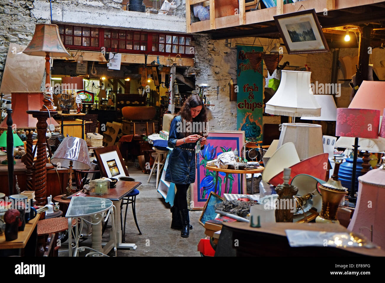 Girl in old curiosity shop, antiques furniture collectables, Ireland - Stock Image