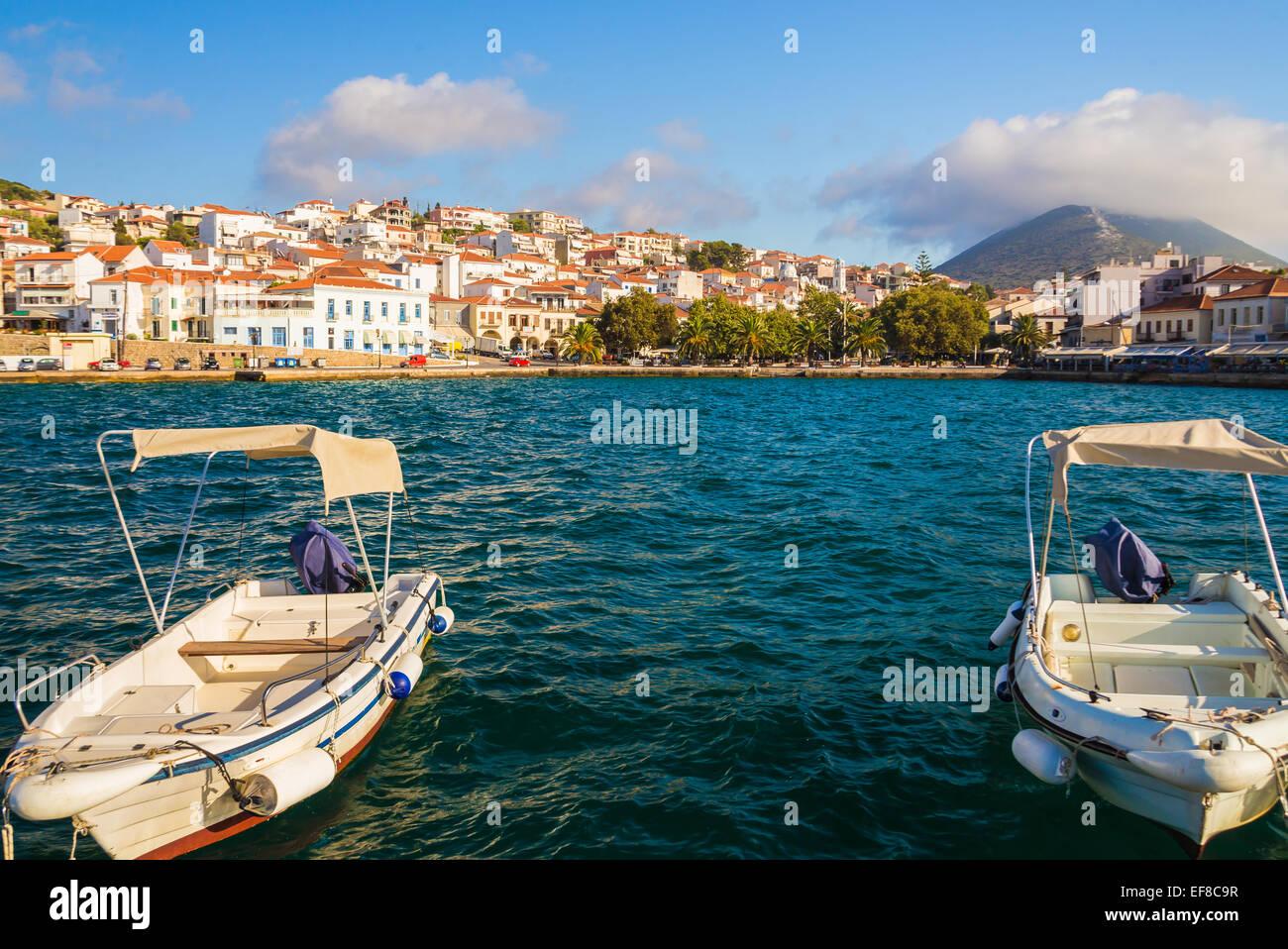fisherman boats in Pylos harbor, Peloponnes, Greece - Stock Image