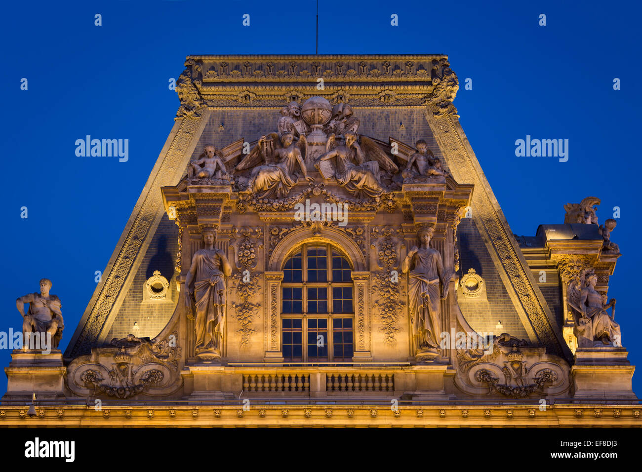 Ornate roof of Musee du Louvre, Paris, France - Stock Image
