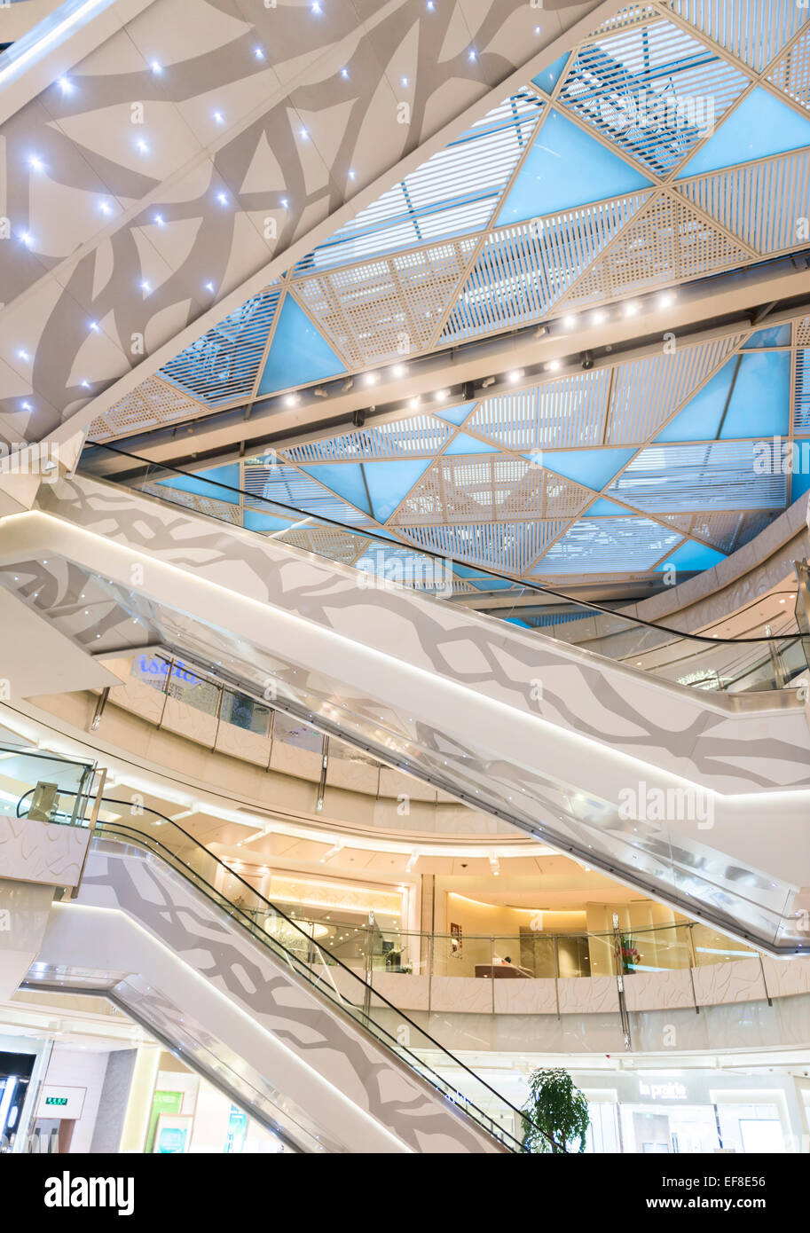 IFC shopping mall modern interior details in Shanghai, China 2014 - Stock Image