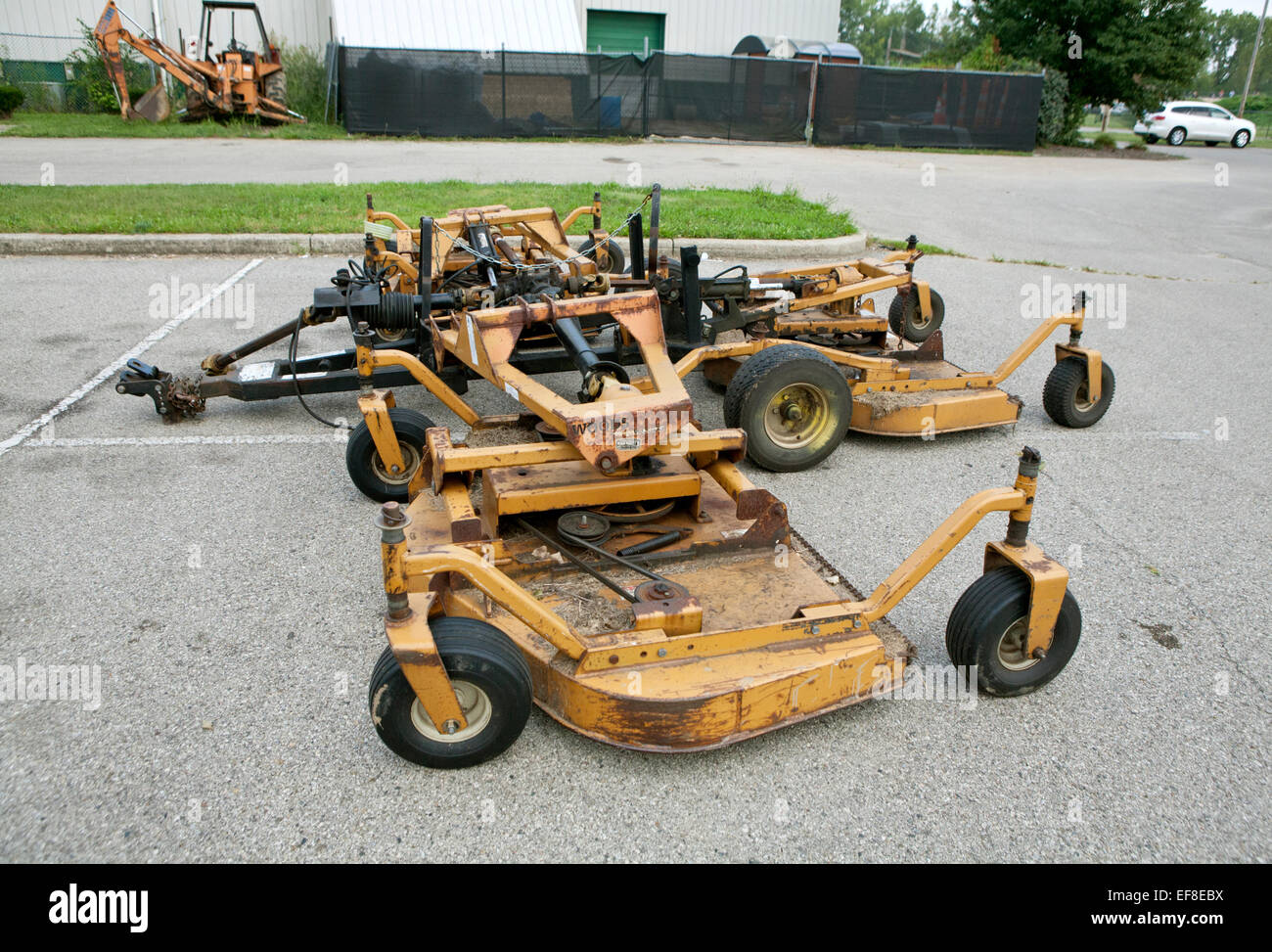Large mower attachment for cutting large areas of grass. Stock Photo