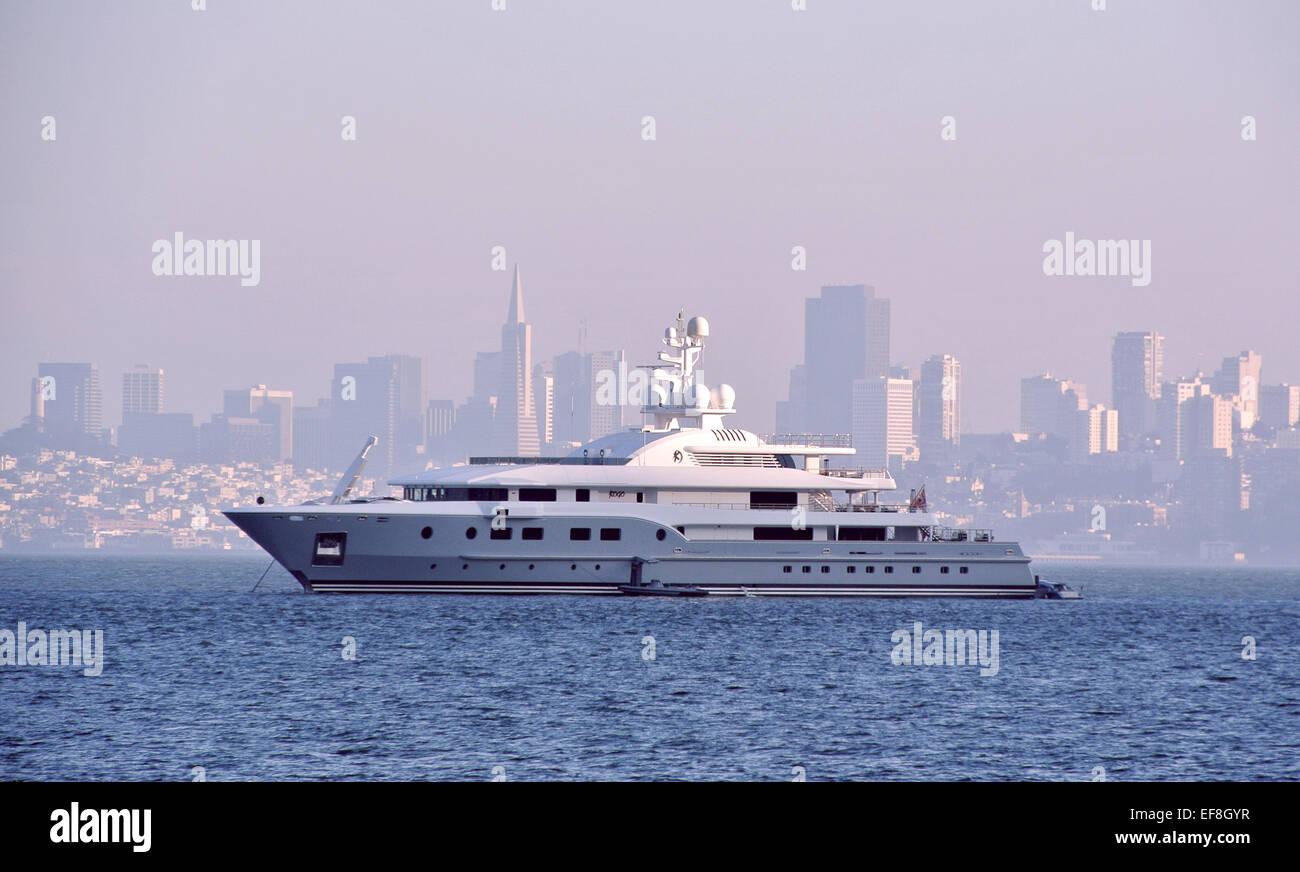 view of superyacht kogo on San Francisco Bay - Stock Image