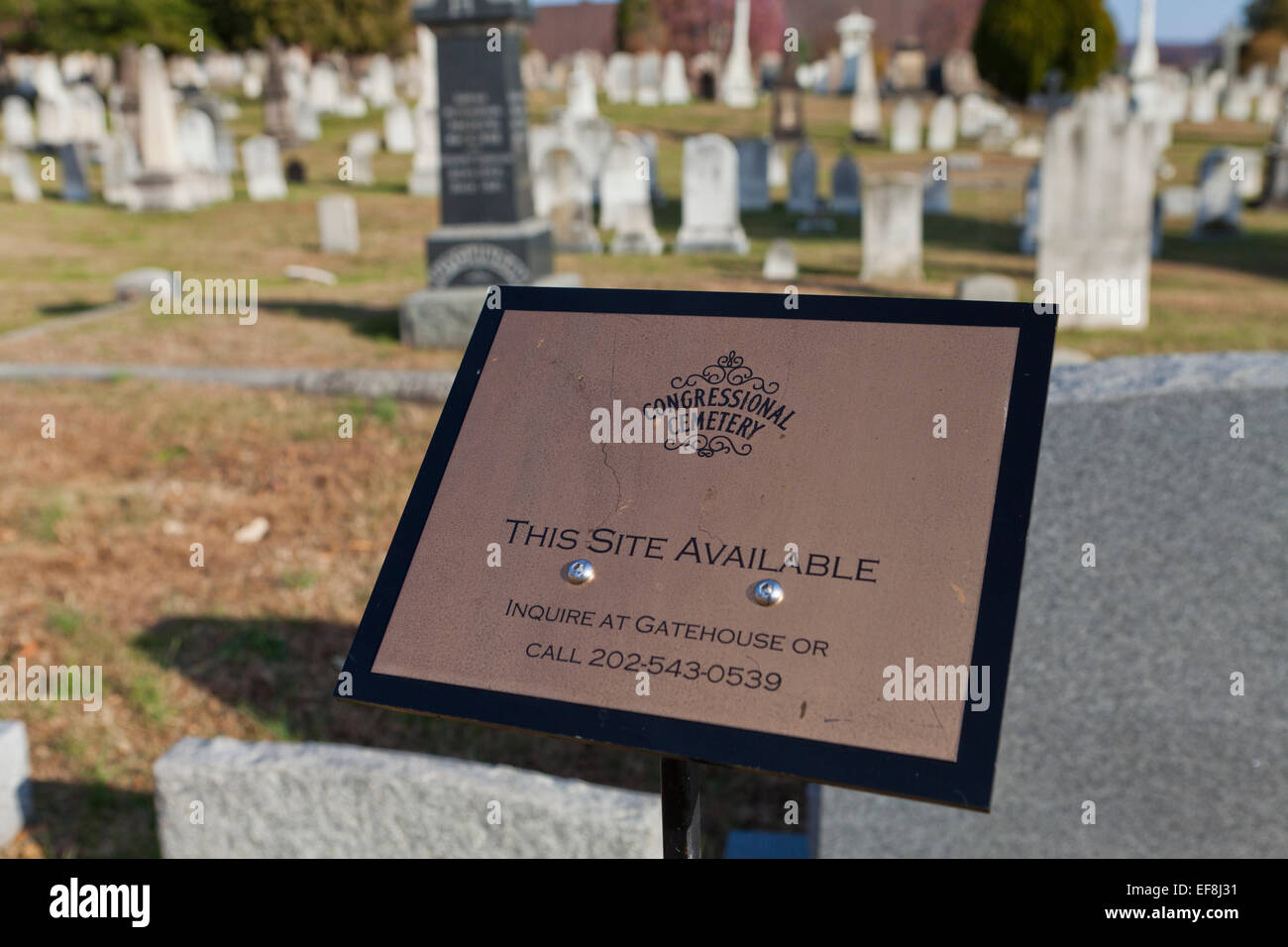 Gravesite available sign at cemetery - Congressional Cemetery, Washington, DC USA - Stock Image