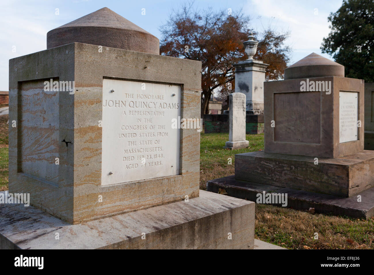Cenotaph of former US President, John Quincy Adams, in the Congressional Cemetery - Washington, DC USA - Stock Image