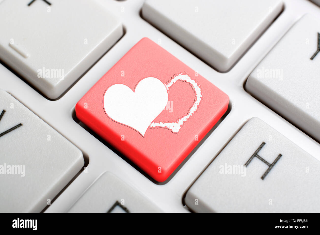 Keyboard Red Heart On Button Stock Photos Keyboard Red Heart On