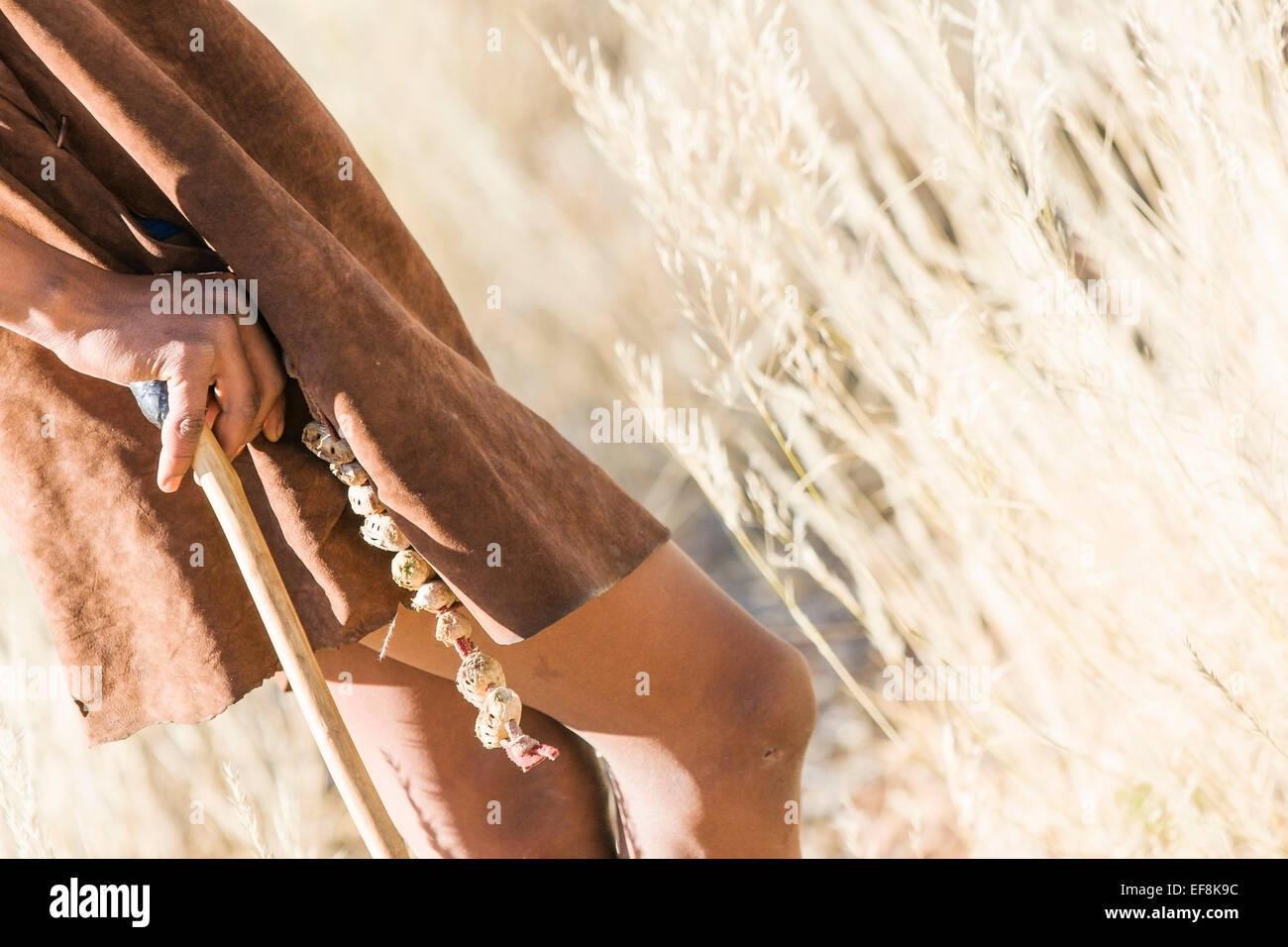 Bushman in leather tunic leans on wooden stick while resting during a hunt in the tall grasses of the Kalahari, - Stock Image