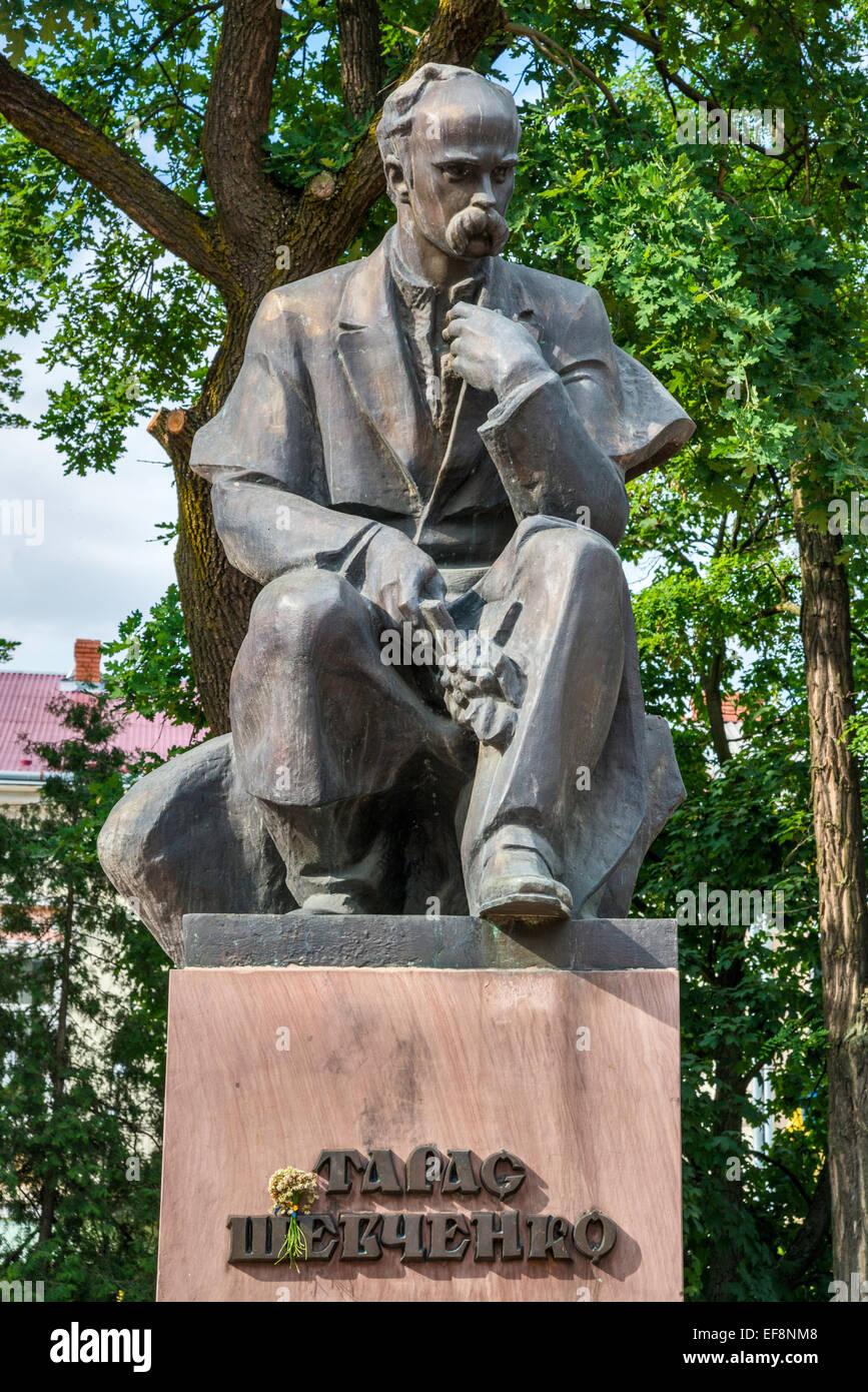 Taras Shevchenko, Ukrainian poet and writer, statue by Leo Mol, in Kolomyia, Prykarpattia region, Ukraine - Stock Image