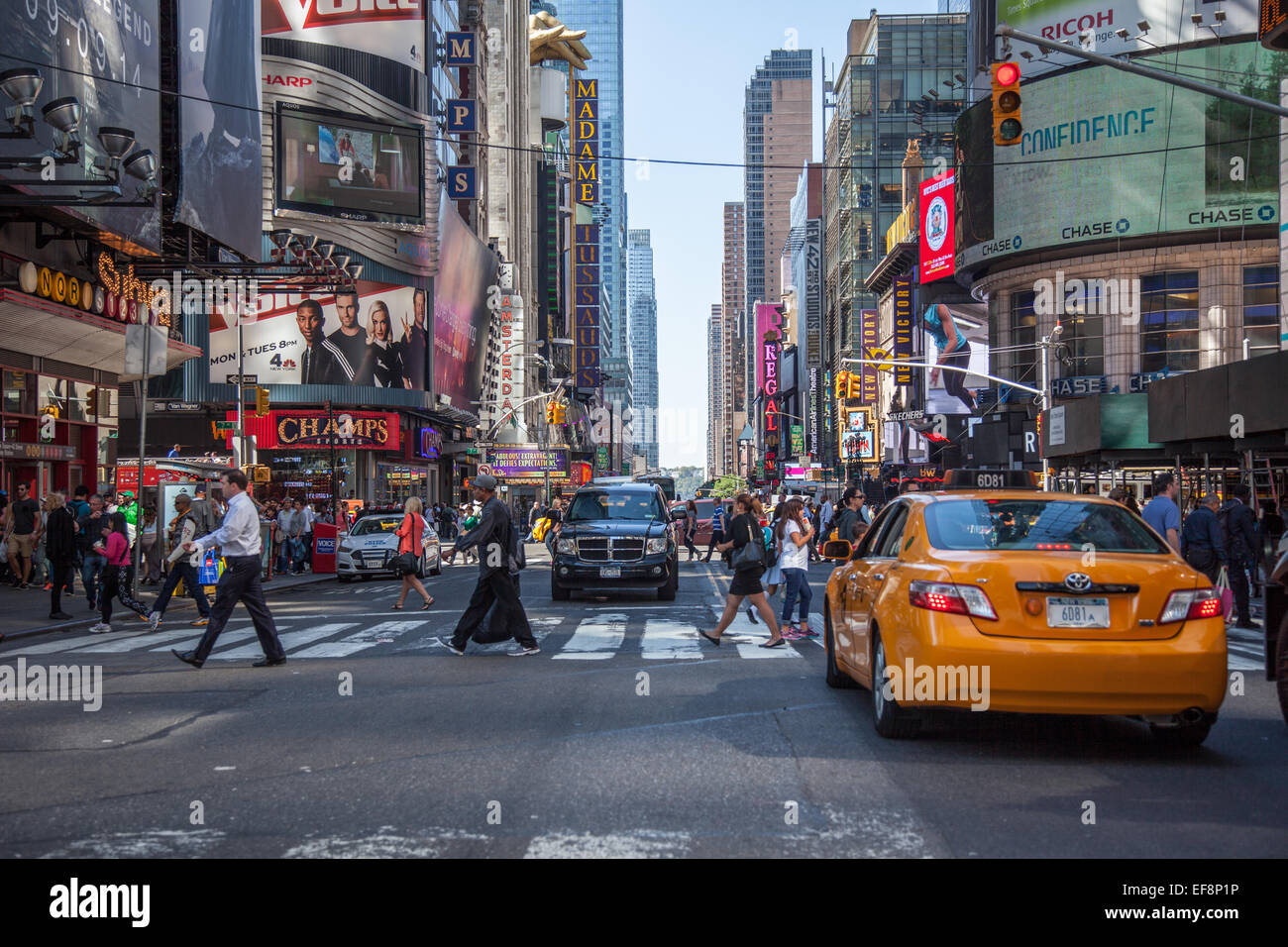 Famous 42nd street in Manhattan, New York City - Stock Image