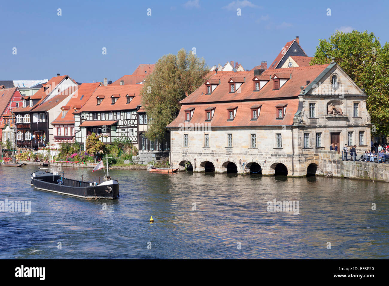 View across Regnitz river towards Little Venice with the old slaughter house, Bamberg, Franconia, Bavaria, Germany - Stock Image