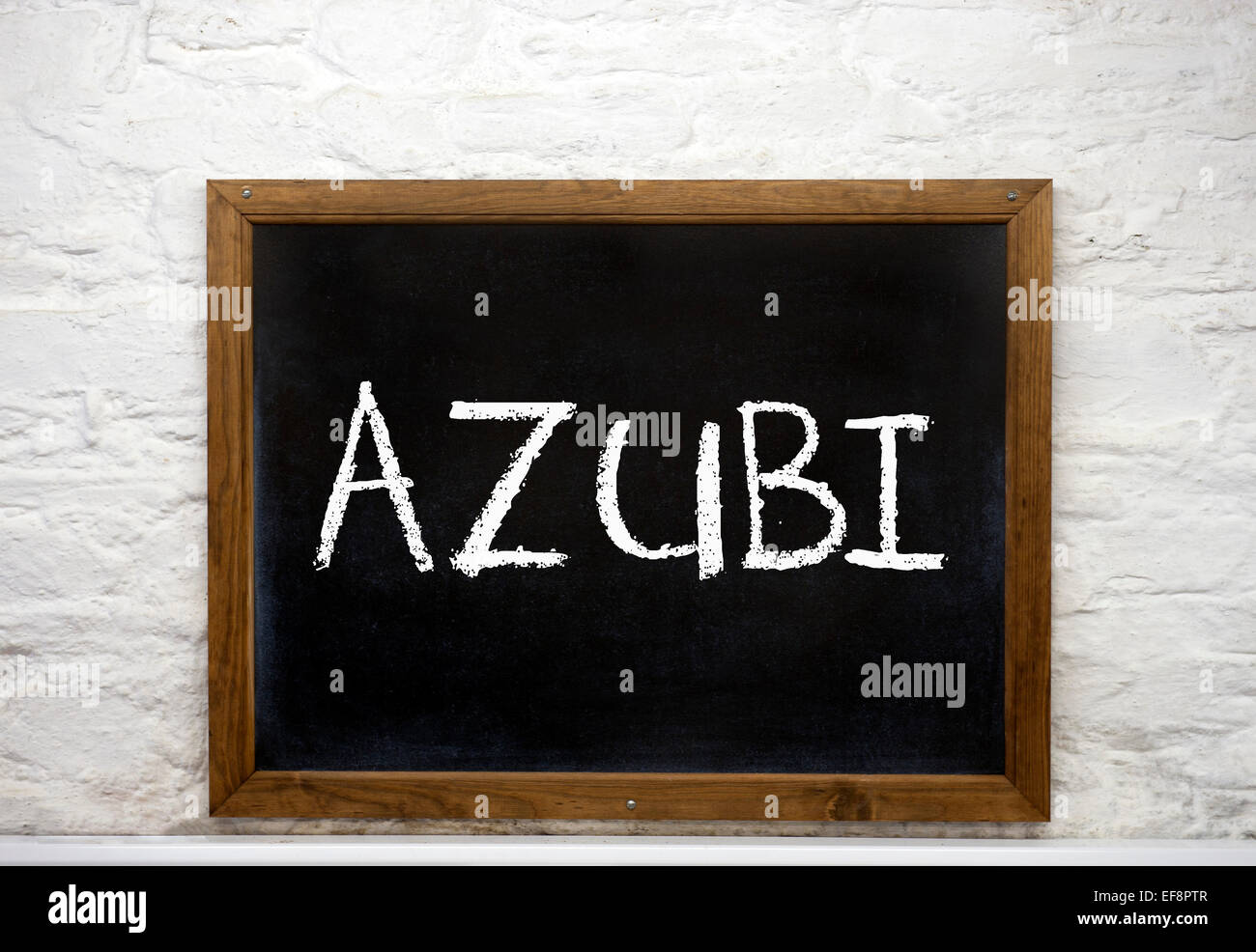Chalkboard with the word 'Azubi', German for apprentice - Stock Image