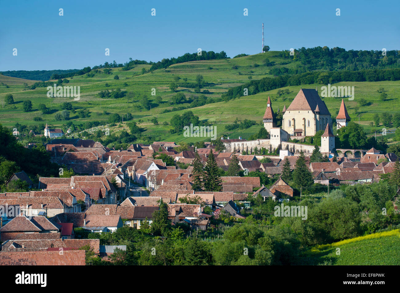 Village with fortified Saxonian churches, UNESCO World Heritage Site, Biertan, Romania - Stock Image
