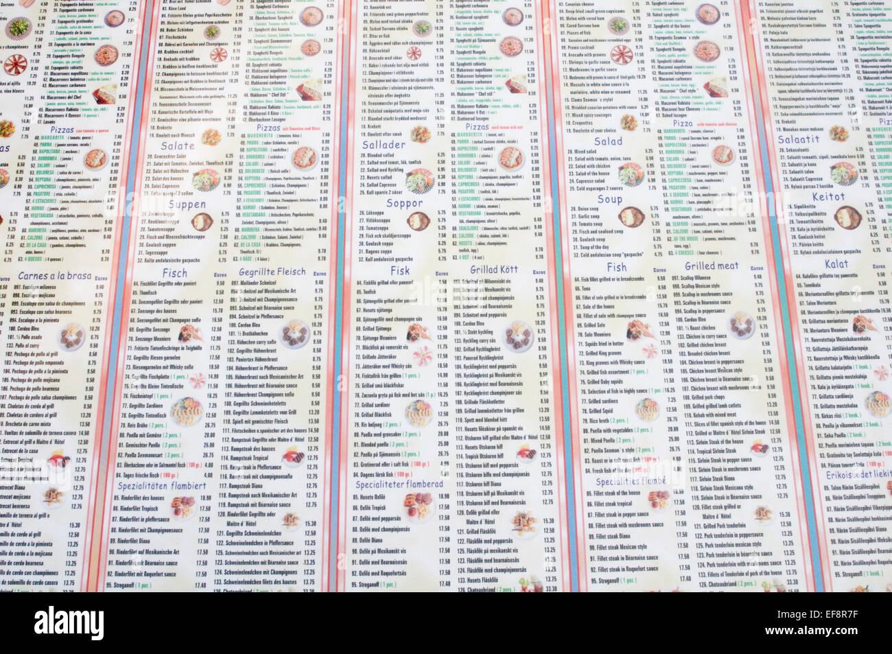 menu menus restaurant restaurants language languages multi lingual translation software translations - Stock Image