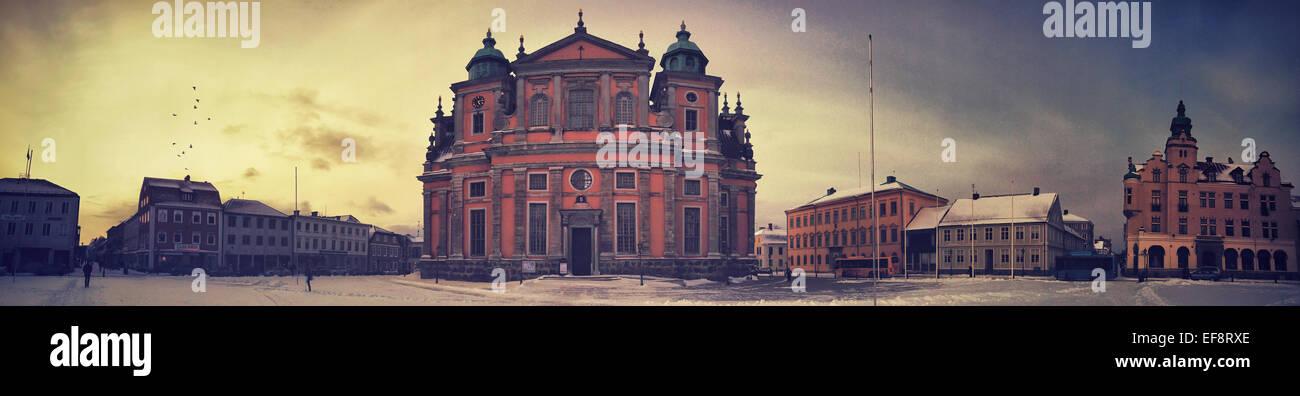 Sweden, Kalmar, Panoramic shot of town square - Stock Image