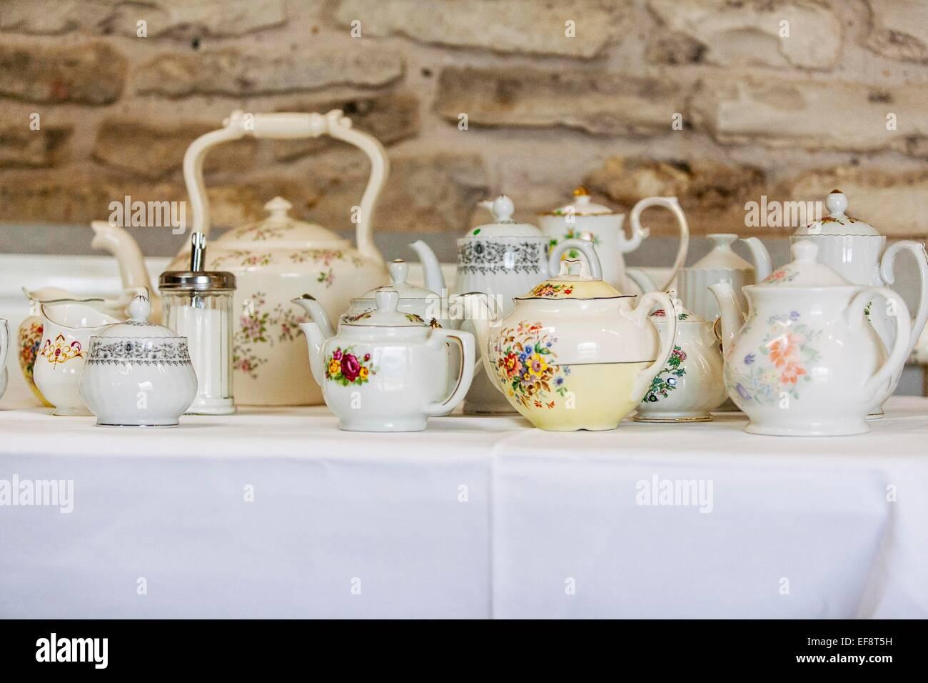 Vintage teapots - Stock Image