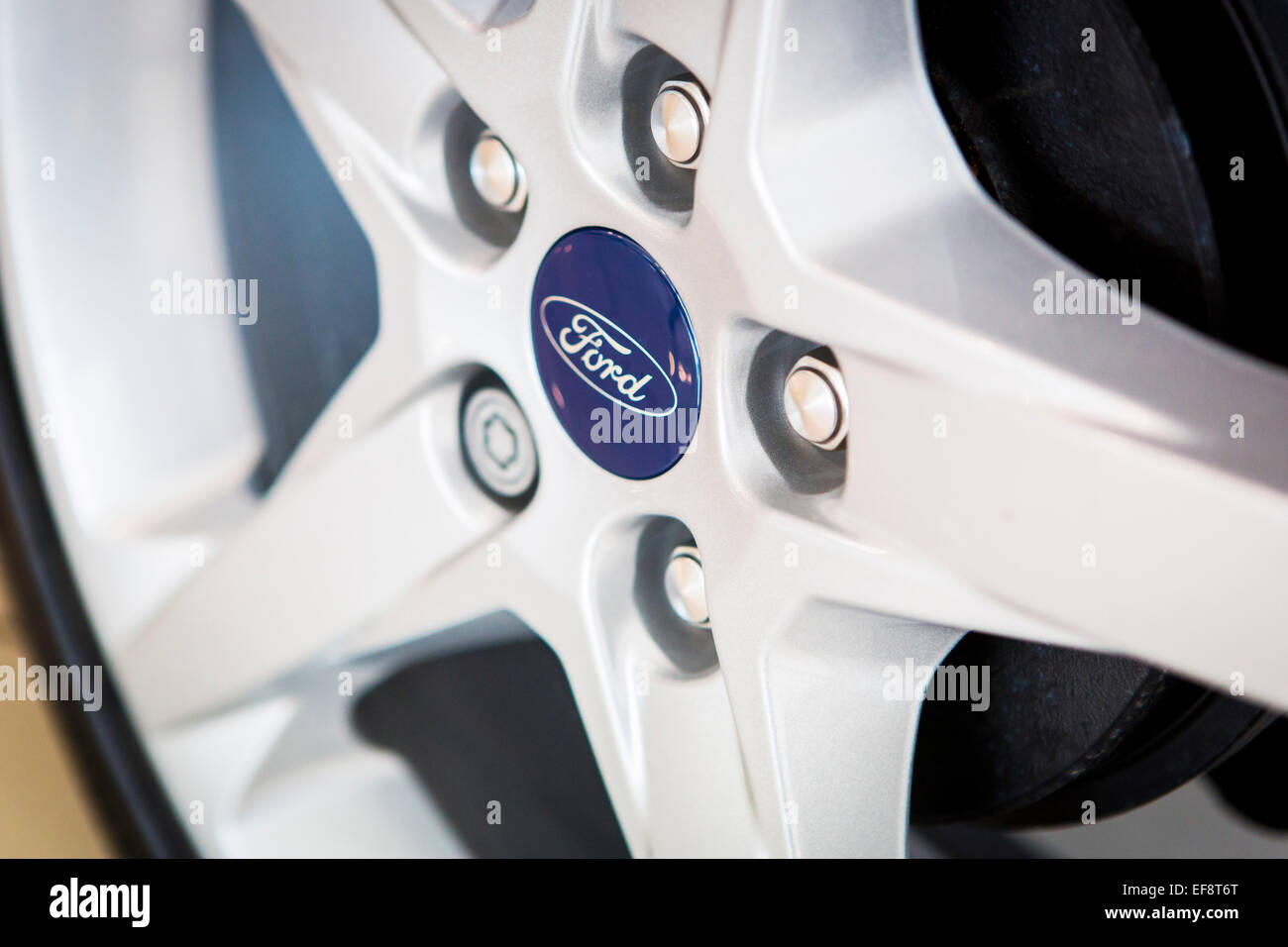 Alloy wheel of a ford car. - Stock Image