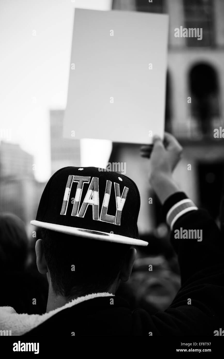 Italy, Milan. Protest for citizenship - Stock Image