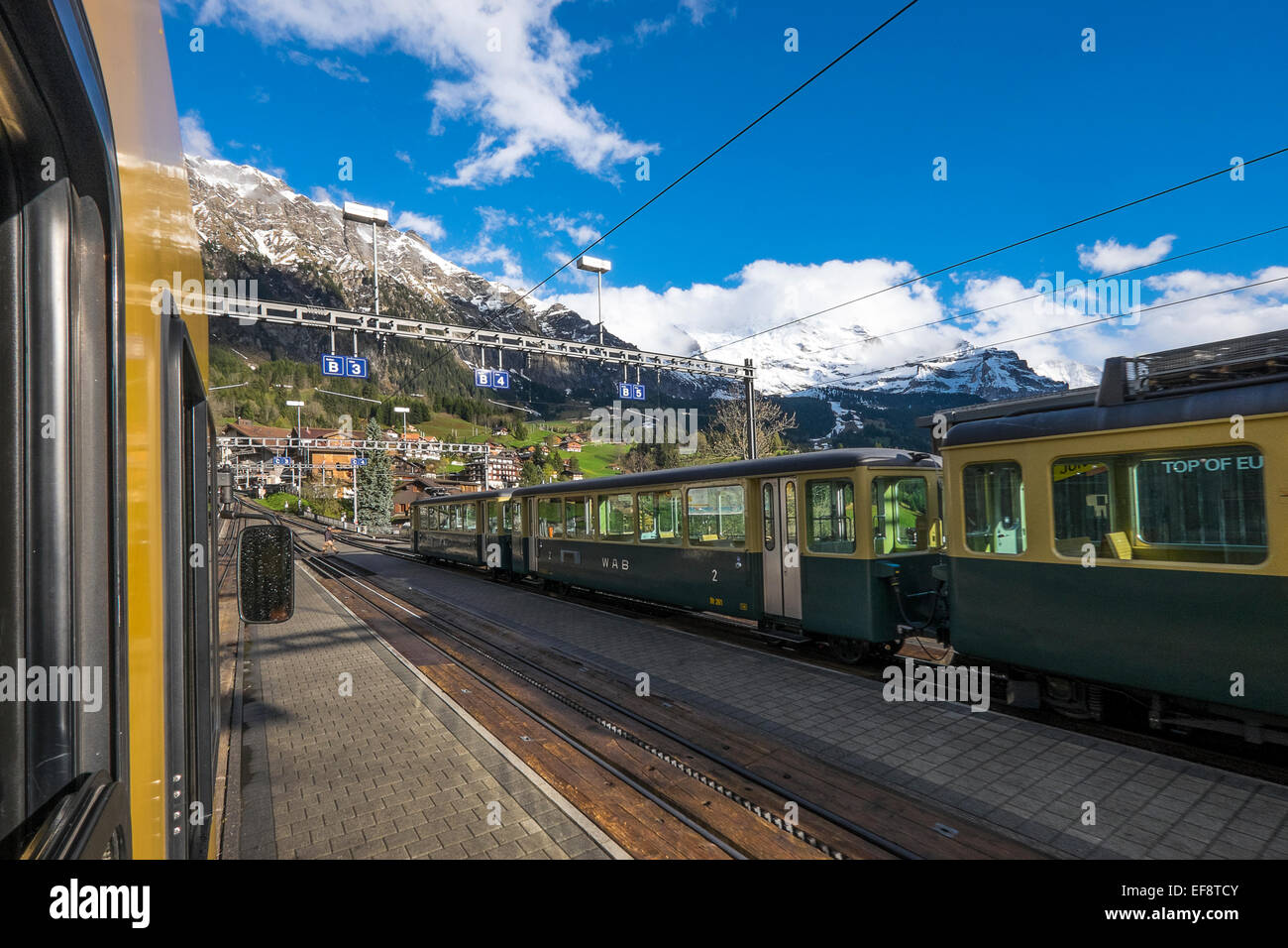 Switzerland, Jungfrau Region, Mountain train at railroad station - Stock Image