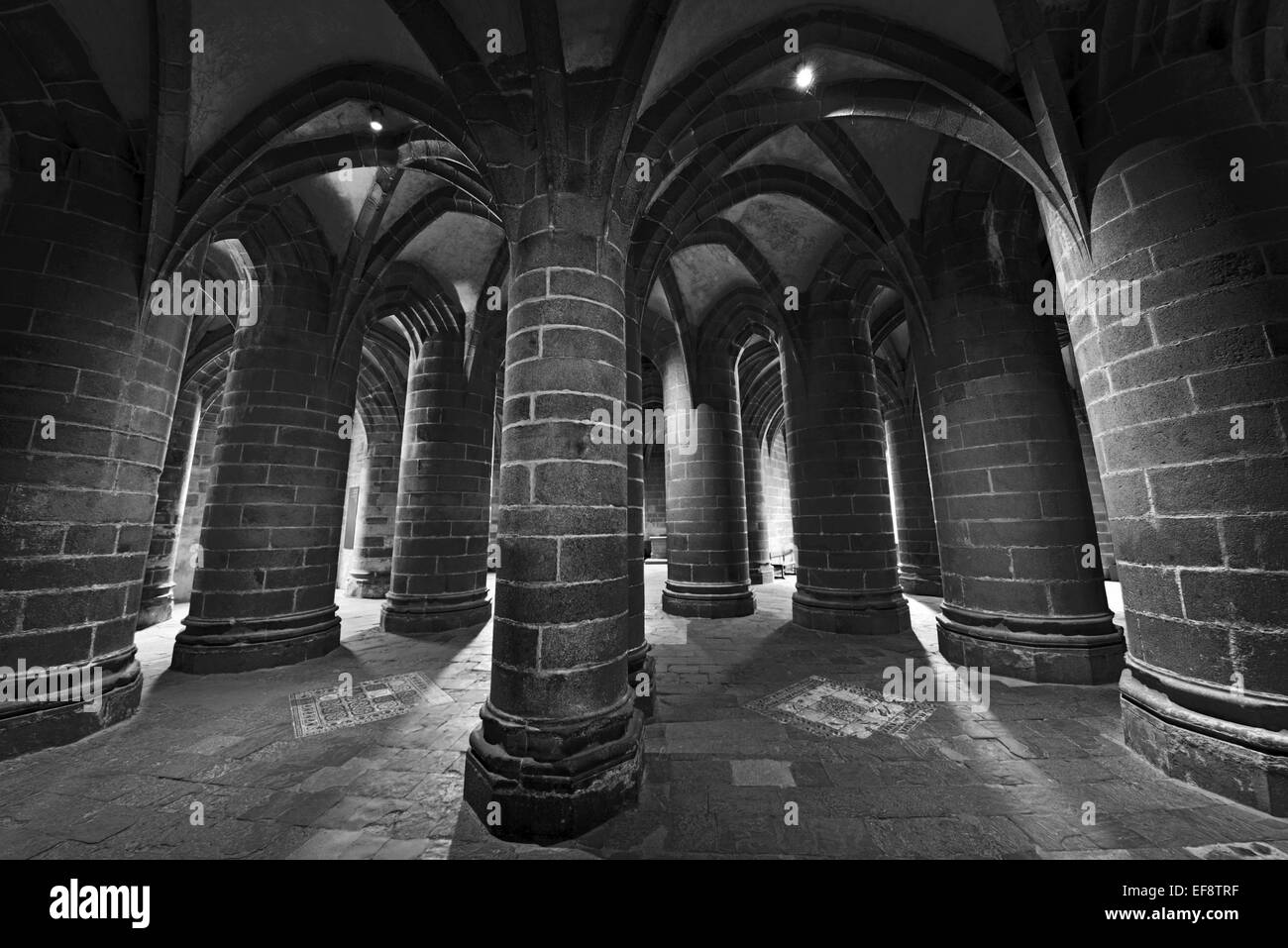 France, Normandy: Detailed black and white view of the  Great Pillar Crypt of the Abbey St. Pierre in Le Mont St. - Stock Image