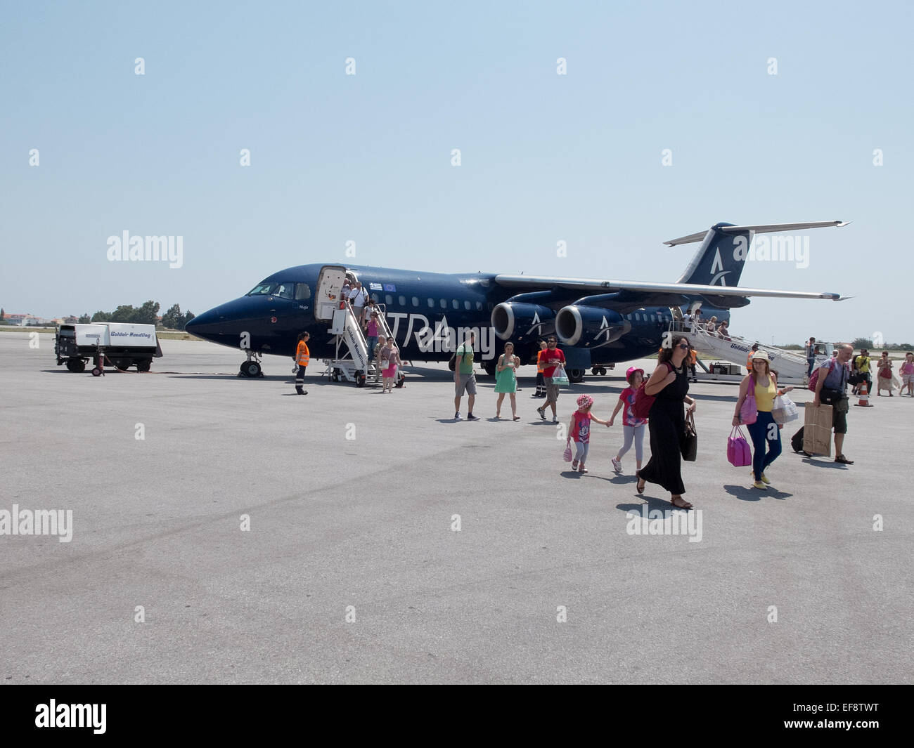 An Astra Airlines Avro RJ in Samos International Airport, Greece - Stock Image