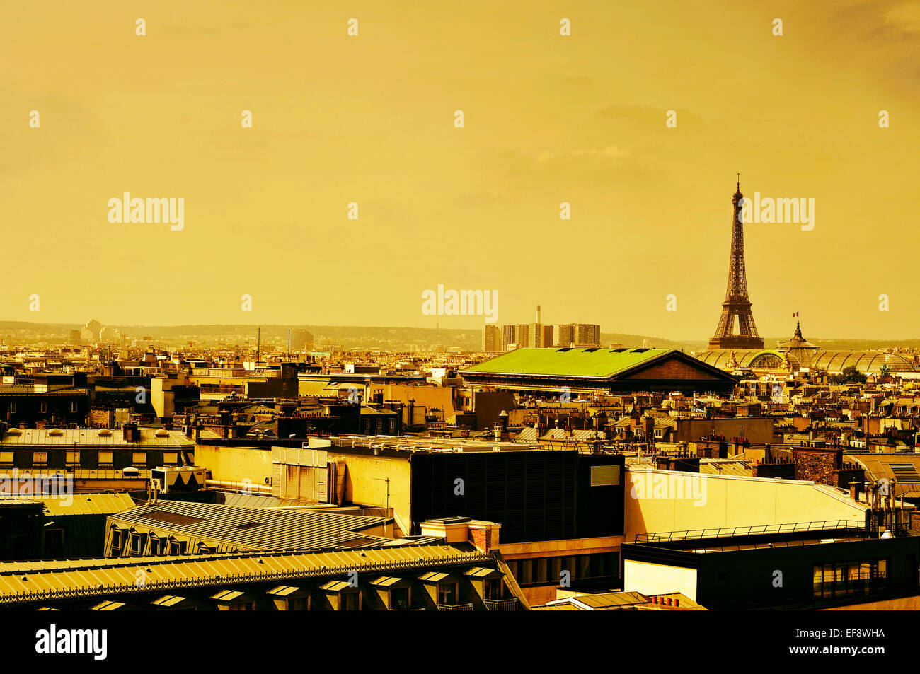 skyline of Paris, France, with the Eiffel Tower in the background Stock Photo