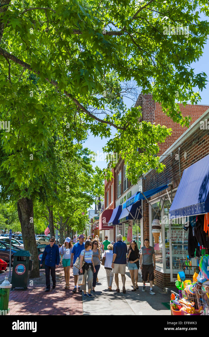 Main Street in the village of Southampton, The Hamptons, Suffolk County, Long Island , NY, USA - Stock Image