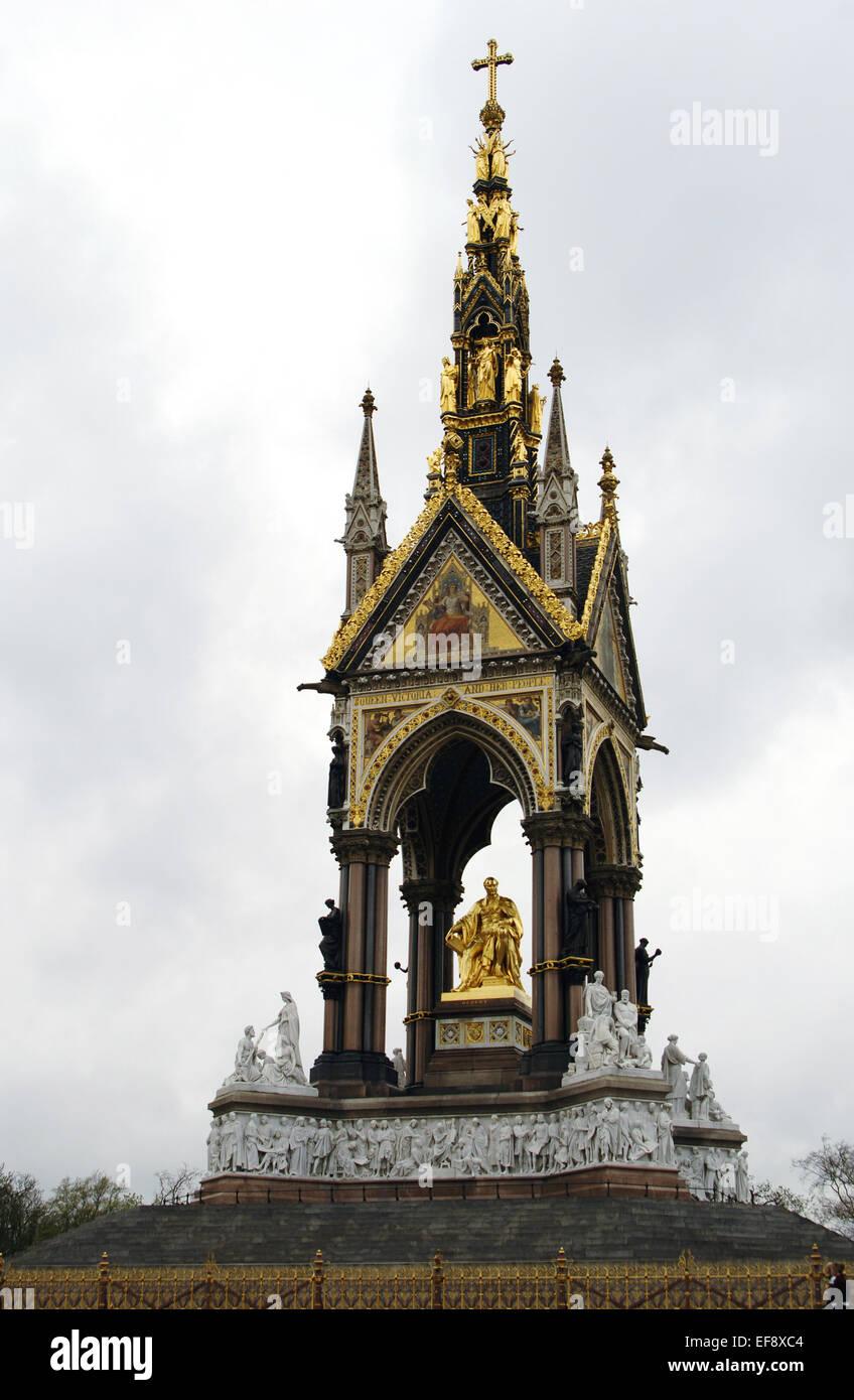United Kingdom. London. The Albert Memorial. Designer by Sir George Gilbert Scott in the Gothic Revival. Kensington Stock Photo