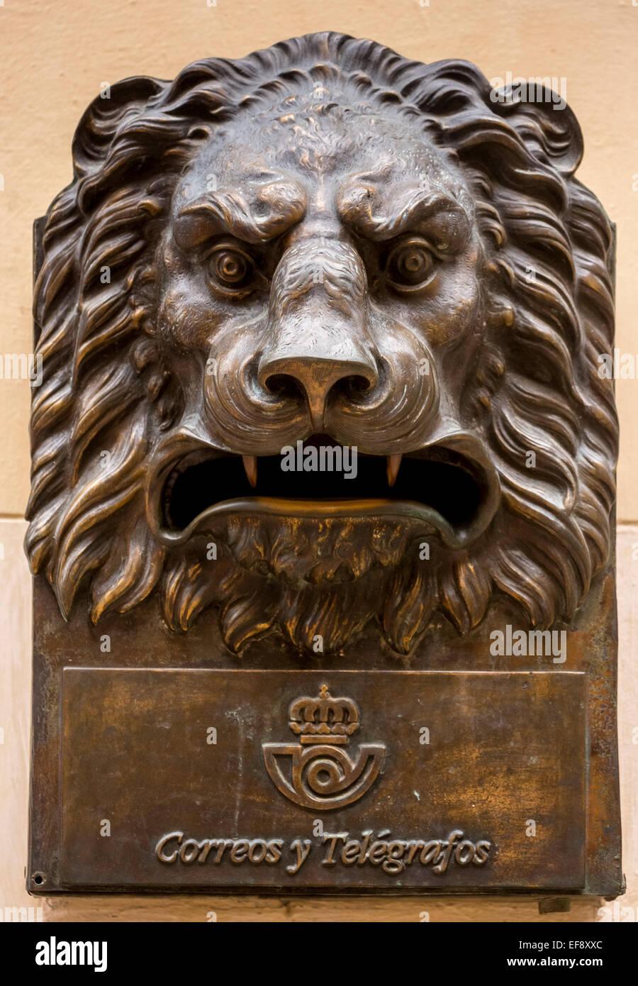Bronze mailbox in form of a lion's head, Correos y Telegraficos, Havana, Cuba - Stock Image