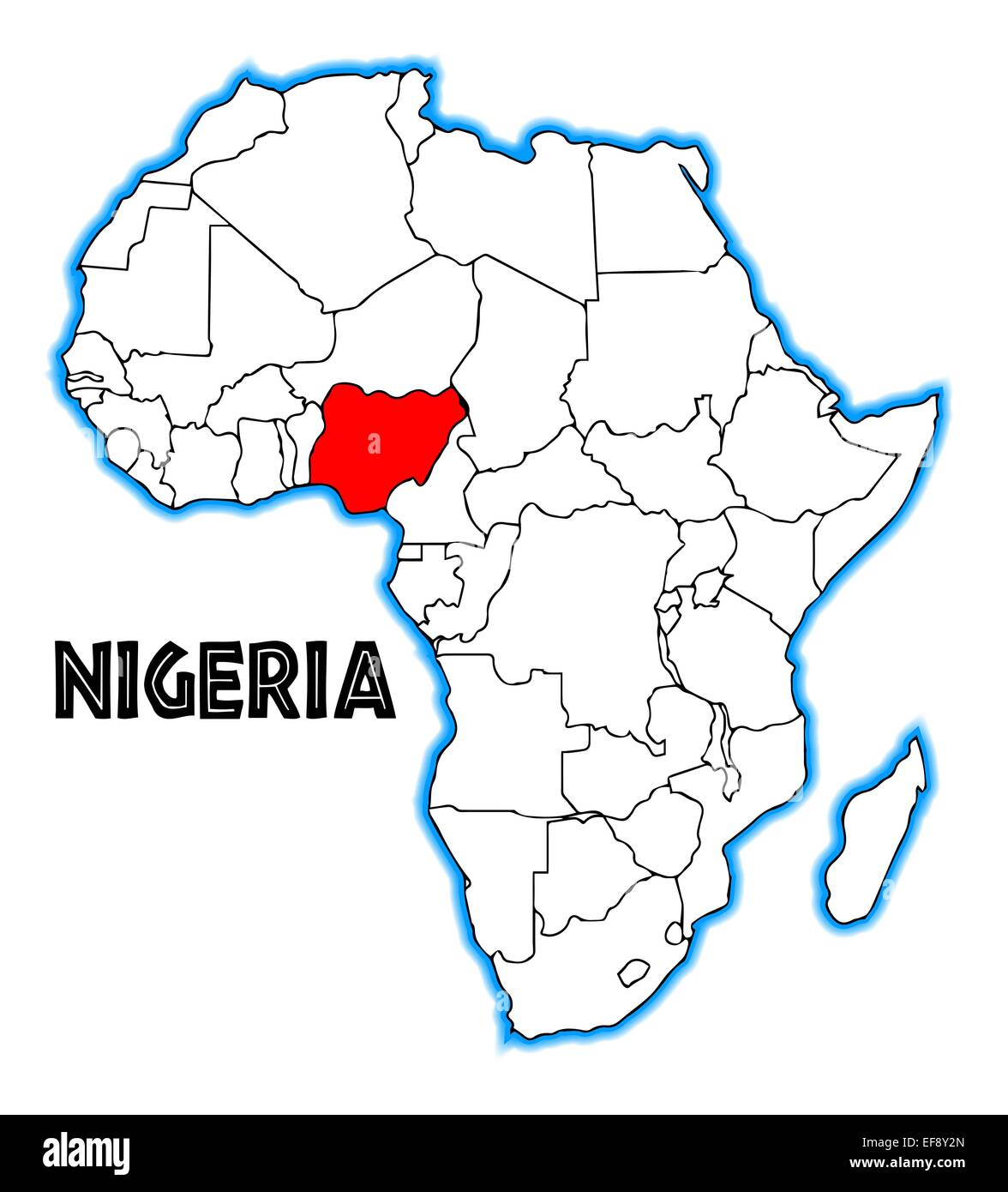 Nigeria outline inset into a map of Africa over a white background ...