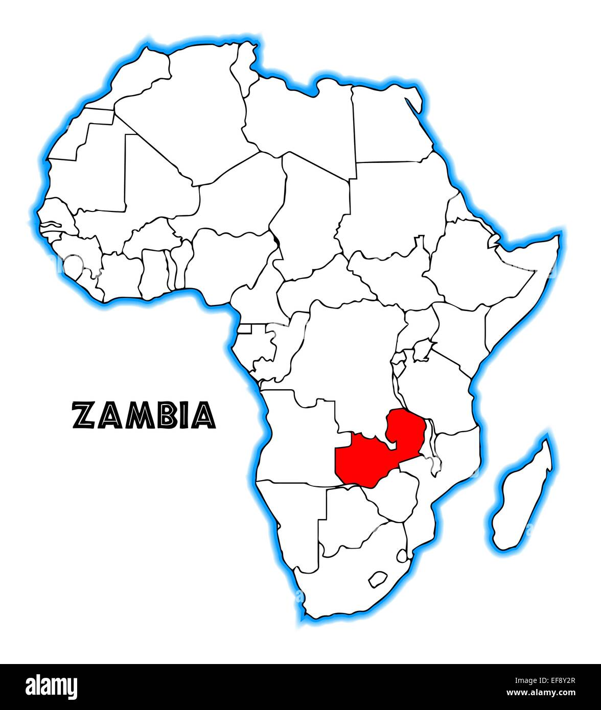 Map Of Africa Zambia.Zambia Outline Inset Into A Map Of Africa Over A White Background