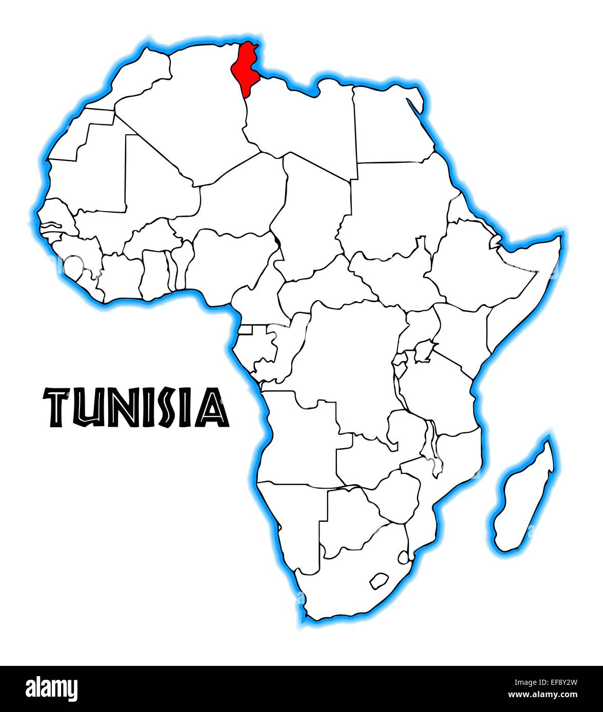 Picture of: Tunisia Outline Inset Into A Map Of Africa Over A White Background Stock Photo Alamy