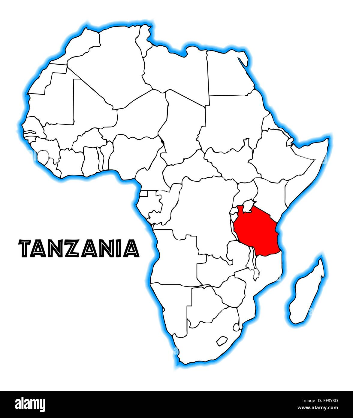 Tanzania On Map Of Africa Tanzania outline inset into a map of Africa over a white